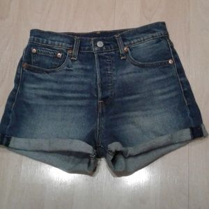 levis high waist blue jean shorts stretch